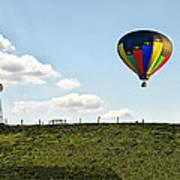 Hot Air Balloon In The Farmlands Poster
