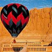 Hot Air Balloon Over Thebes Temple Poster