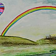 Hot Air Balloon Rainbow Poster