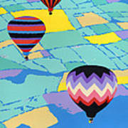 Abstract Hot Air Balloons - Ballooning - Pop Art Nouveau Retro Landscape - 1980s Decorative Stylized Poster