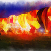 Hot Air Balloons Night Glow Photo Art 01 Poster