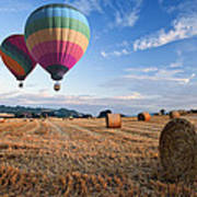 Hot Air Balloons Over Hay Bales Sunset Landscape Poster