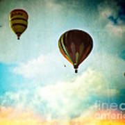 Hot Air Baloons In Blazing Sky Poster