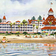 Hotel Del Coronado From Ocean Poster by Mary Helmreich