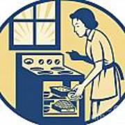 Housewife Baker Baking In Oven Stove Retro Poster