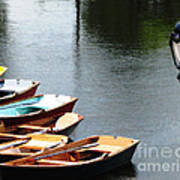 Hoyt Lakes Rowboats In Delaware Park Buffalo Ny Oil Painting Effect Poster