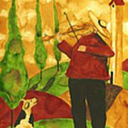 Hubbs Art Folk Prints Whimsical Animal Dogs Pet Music Instrument Fiddler Violin Poster