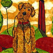 Hubbs Art Folk Prints Whimsical Animals Dog Pet Walk Italy Tuscany Country Poster