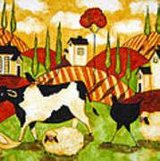 Hubbs Children Art Folk Prints Farm Animals Cow Sheep Goose Chicken Hen Bird Poster