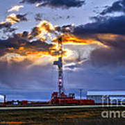 Sunset Over The Oil Rigs Poster
