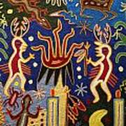 Huichol Yarn Painting Mexico Poster