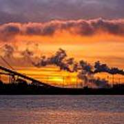 Humboldt Bay Industry At Sunset Poster