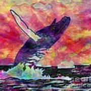 Humpback Whale Digital Color Poster