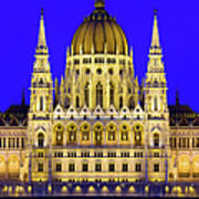 Hungarian Parliament At Twilight Poster