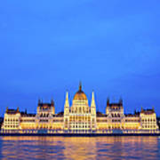 Hungarian Parliament Building At Dusk Poster