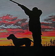 Hunting At Sunset Poster