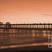 Huntington Beach Pier - Twilight Sepia Poster by Jim Carrell