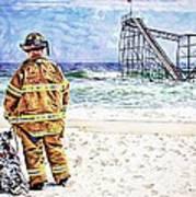 Hurricane Sandy Fireman Poster