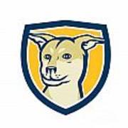 Husky Shar Pei Cross Dog Head Shield Cartoon Poster