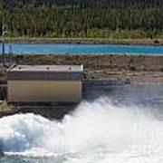 Hydro Power Station Dam Open Gate Spillway Water Poster