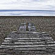 Hythe Beach Kent Poster by Lesley Rigg