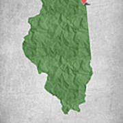 I Love Chicago Illinois - Green Poster