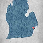 I Love Detroit Michigan - Blue Poster