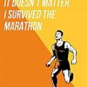 I Survived Marathon Runner Retro Poster Poster