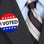 I Voted Pin On Lapel Poster