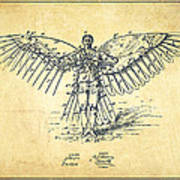 Icarus Flying Machine Patent Drawing-vintage Poster