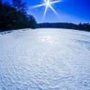 Ice And Snow Frozen Over Lake On Sunny Day Poster