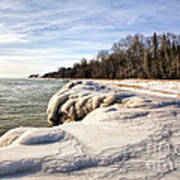 Ice Covered Shores Of Lake Michigan Poster
