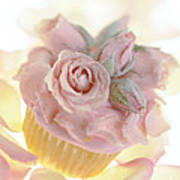 Iced Cup Cake With Sugared Pink Roses Poster