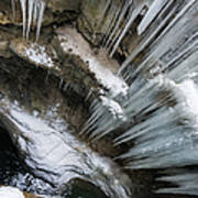 Icicles Hanging In Rocky Gorge In Cold Winter Poster
