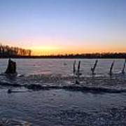 Icy Lake Sunset Poster