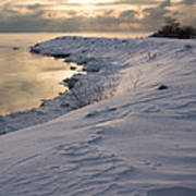 Icy Patterns On The Snow - A Lake Shore Morning Poster
