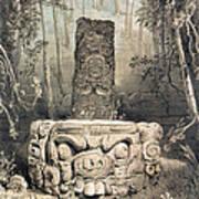 Idol And Altar At Copan Poster