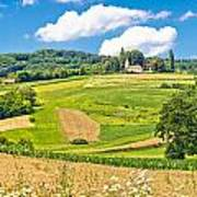 Idyllic Agricultural Landscape Panoramic View Poster