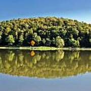 Idyllic Autumn Reflections On Lake Surface Poster
