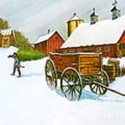 Illinois Farm With Barn In Winter Poster