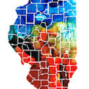 Illinois - Map Counties By Sharon Cummings Poster