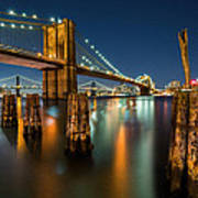 Illuminated Brooklyn Bridge By Night Poster