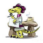 Illustration Of A Raptor Poet Thinking Poster