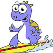 Illustration Of A Surfing Spinosaurus Poster