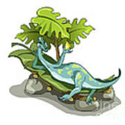 Illustration Of An Iguanodon Sunbathing Poster