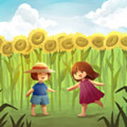 Illustration Of Friends Playing In Sunflower Field Poster