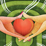 Illustration Of Hands With Heart Poster