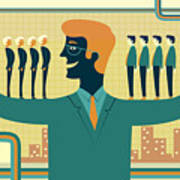 Illustration Of Leader Carrying Business People On His Arms Poster