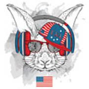 Illustration Of Rabbit In The Glasses Poster