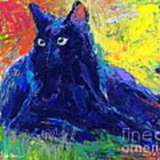 Impasto Black Cat Painting Poster